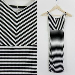 Nasty Gal Black and White Stripes Dress XXS